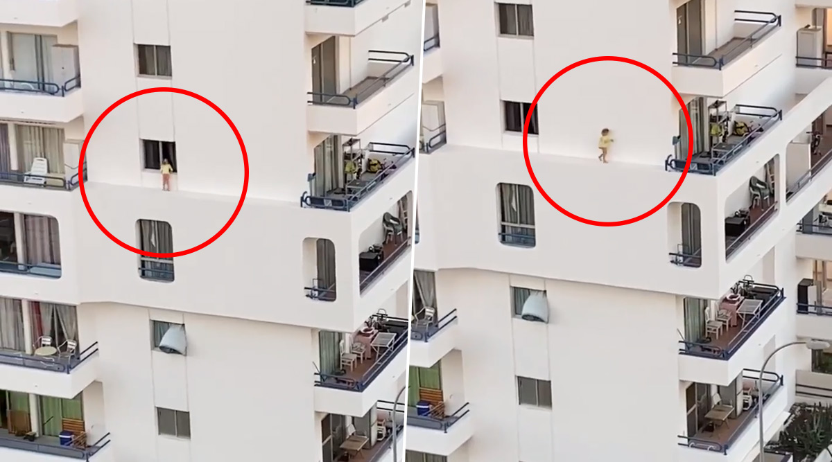 Toddler Walks on Narrow Ledge of Apartment Building in Spain While Mother Was in Shower, Heart-Stopping Moment Caught on Camera (Watch Video)