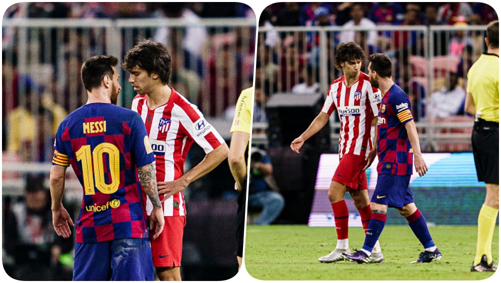 Lionel Messi Gets into a Spat With Joao Felix During Barcelona vs Atletico Madrid, Supercopa De Espana 2019-20, Team Barca Joins Confrontation (Watch Video)