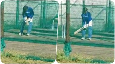 MS Dhoni Begins Preparations for IPL 2020, Chennai Super Kings Captain Sweats it Out in the Nets (Watch Video)