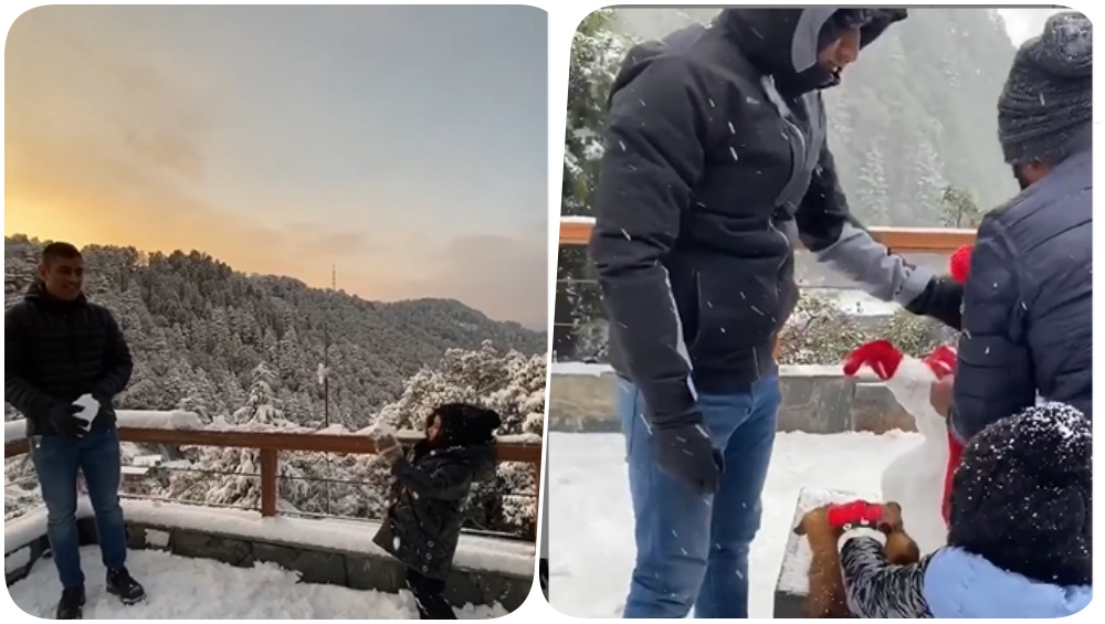 MS Dhoni Enjoys First Snow Fall With Daughter Ziva and Wife Sakshi Rawat As Rumours of His Retirement Escalate (Watch Video)