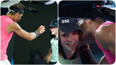 CUTE! Rafael Nadal Kisses Ball Girl's Cheek After She Gets Hit, Wife Xisca Perelló Smiles From Spectator Seat (Watch Video)