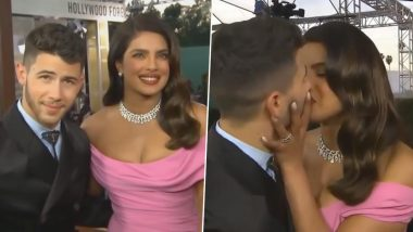 Golden Globes 2020: Priyanka Chopra and Nick Jonas Kiss on the Red Carpet Leading to an Awkward Moment (Watch Video)