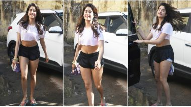 No Makeup No Worry! Janhvi Kapoor Shows how a Pair of Running Shorts and a Crop top can Help You Look Amazing (View Pics)