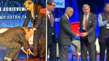 Narayana Murthy Touches Ratan Tata's Feet at TiEcon 2020 Event in Mumbai! Internet Loves the Gesture (Watch Viral Video)