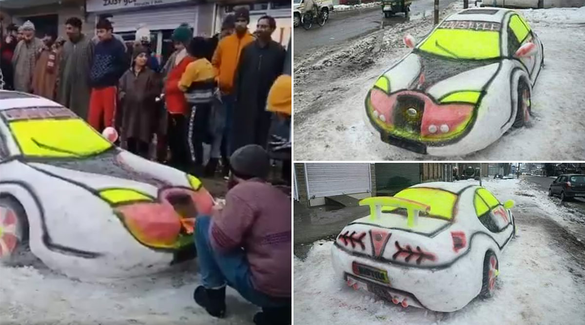 Kashmiri Boy, Zubair Ahmed Makes 'Snow Car' in Budgam, People Flood Twitter Timeline With Beautiful Images of the Icy Sculpture