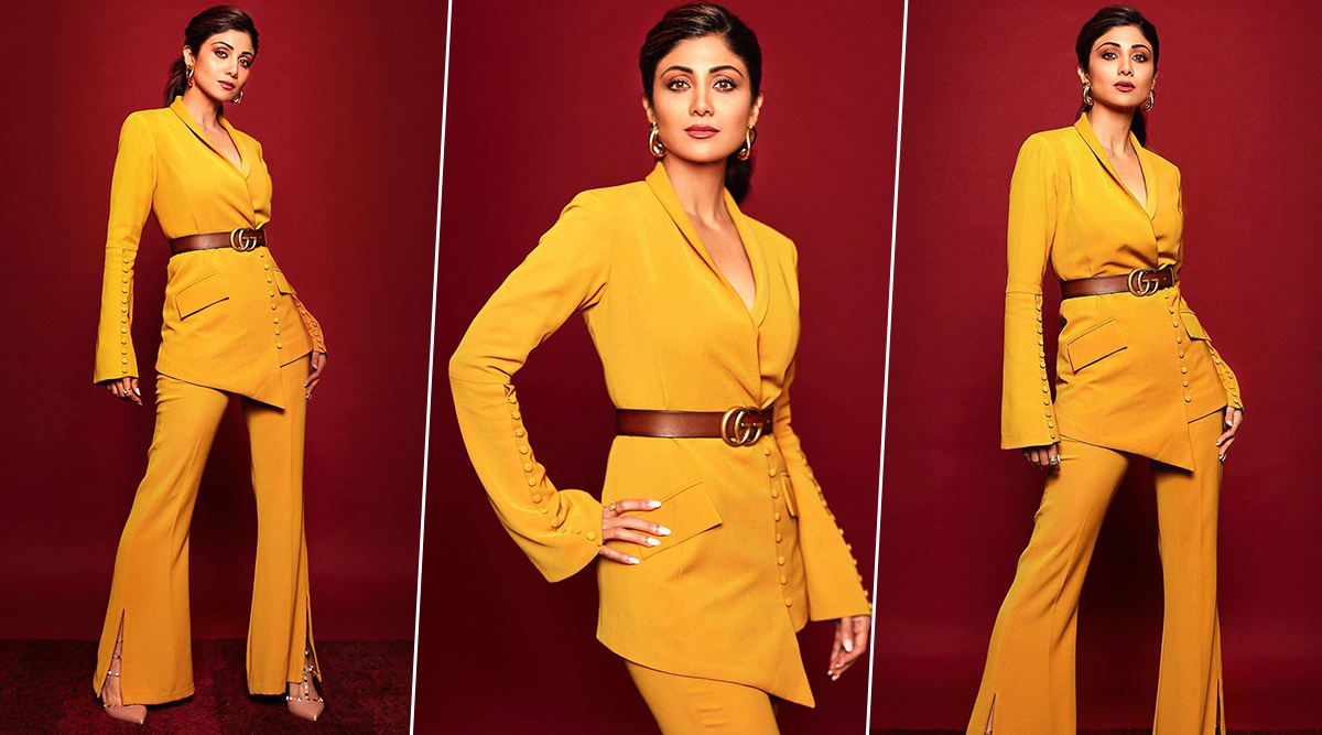 Shilpa Shetty Channels a Brilliant Ochre Obsession in an Alina Anwar Pantsuit!