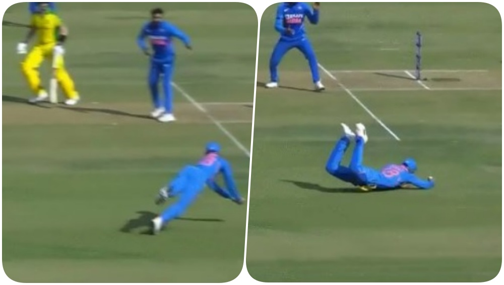 Virat Kohli Takes a Flyer to Dismiss Marnus Labuschagne During IND vs AUS 3rd ODI 2020, Emulates Robin Uthappa's Catch Celebration; Twitterati React! (Watch Videos)