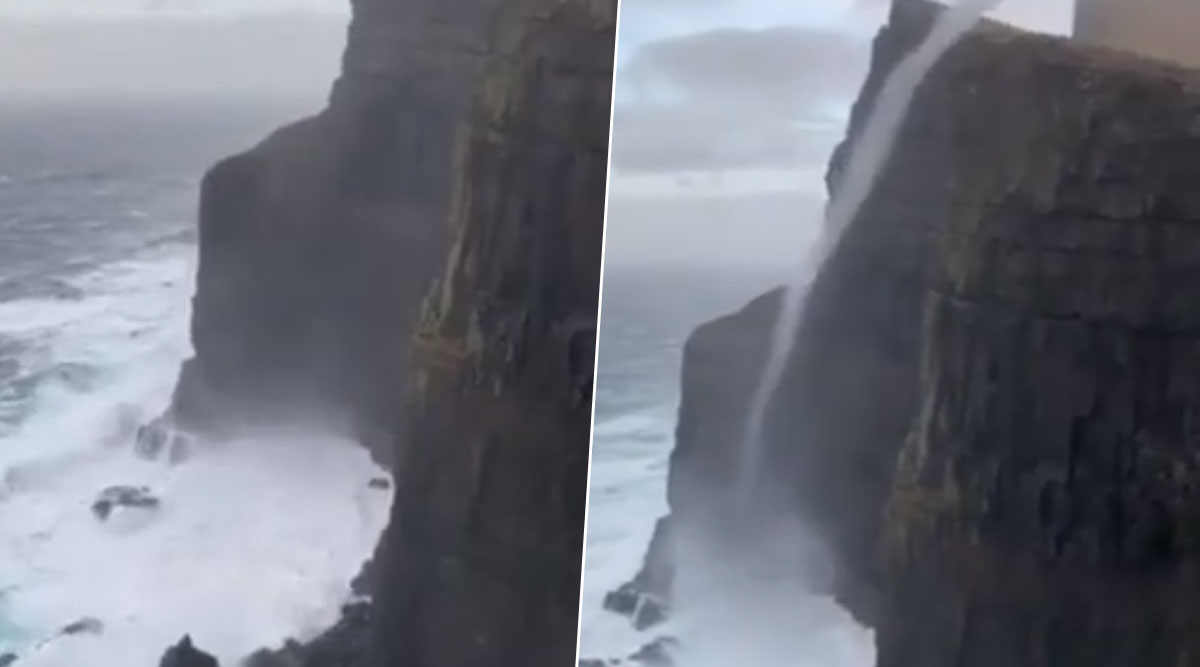 Footage Captures Rare Moment of Waves Flowing Upwards Due to Sea Vortex in Faroe Islands, Mind-Boggling Video Goes Viral