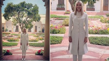 Ivanka Trump Looks Regal in an Anita Dongre White Fusion Sherwani on Day 2 of Her India Visit