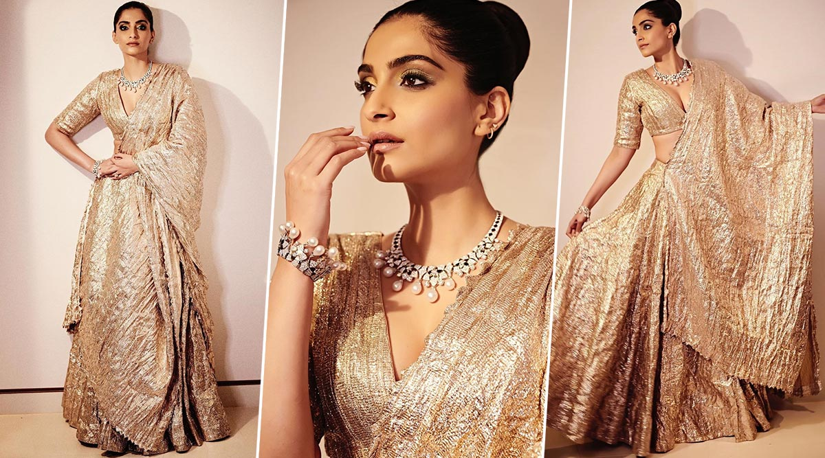 Some Sparkle and Lots of Shine! Sonam Kapoor Looks Resplendent in Her Traditional Itrh Outfit (View Pics)