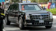 Donald Trump to Drive in Posh, High-Tech Cadillac One Car on Indian Roads; Know All About The Armoured Limousine Car of The US President; See Pic