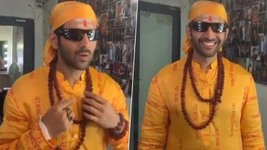 Kartik Aaryan Can't Stop Smiling As He Begins Shooting for Bhool Bhulaiyaa 2 Donning the Same Look as Akshay Kumar from the Original (Watch Video)