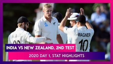IND vs NZ Stat Highlights, 2nd Test 2020 Day 1: Kyle Jamieson's 5-Wicket Haul Puts New Zealand Ahead