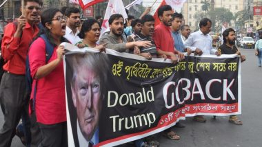 'Go Back Trump' Slogans Raised at Rallies by Left Parties in West Bengal Against Ongoing India Visit of US President