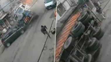 J&K: Speeding Truck Rams Into Car on Jammu-Pathankot National Highway in Samba, Watch Horrific Video