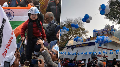 AAP Workers Celebrate With Holi Colours And Music as Trends Show Victory For Arvind Kejriwal's Party in Delhi Assembly Elections 2020; See Pics And Videos