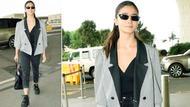 Alia Bhatt Channels a Monochrome Airport Style in a Wardrobe Must Have Houndstooth Jacket!