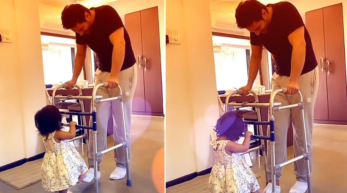 Angad Bedi Can't Keep Calm As Daughter Mehr Gives Him a Helping Hand to Walk Post His Knee Surgery (Watch Video)