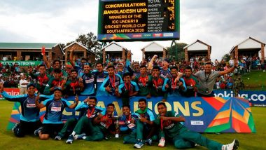 Here's How Bangladesh U19 Players Celebrated Their Maiden World Cup Title Win After Defeating India in ICC U19 CWC 2020 Final (Watch Video)