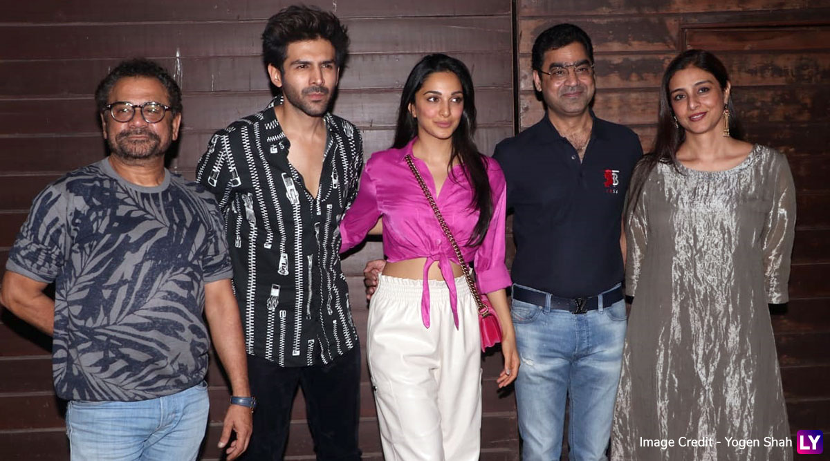 Bhool Bhulaiyaa 2 Get Together! Kartik Aaryan, Kiara Advani, Tabu and Others Make a Stylish Arrival for the Party (View Pics)