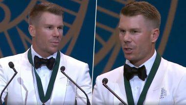 David Warner Gets Emotional During Acceptance Speech at Australia Cricket Awards 2020 (Watch Video)