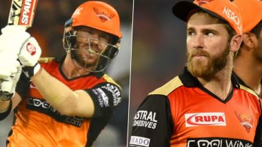 David Warner Sweats it Out in the Nets Along With Team Sunrisers Hyderbad, Kane Williamson Reaches Chennai Ahead of IPL 2021 (Watch Video)