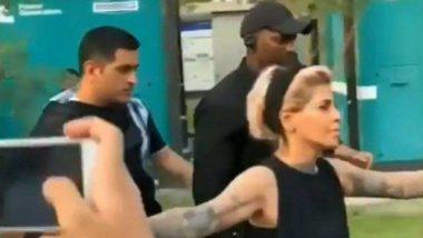 MS Dhoni's Hairstylist Sapna Bhavnani Turns Bodyguard Ahead of Ad Shoot (Watch Video)