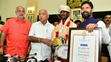 Karnataka CM BS Yediyurappa Felicitates Kambala Buffalo Runner Srinivasa Gowda, Tagged by Twitterati as 'Faster Than Usain Bolt'