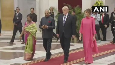 Donald Trump, Melania Trump Arrive at the Rashtrapati Bhawan for Banquet Hosted by President Ram Nath Kovind (Watch Video)
