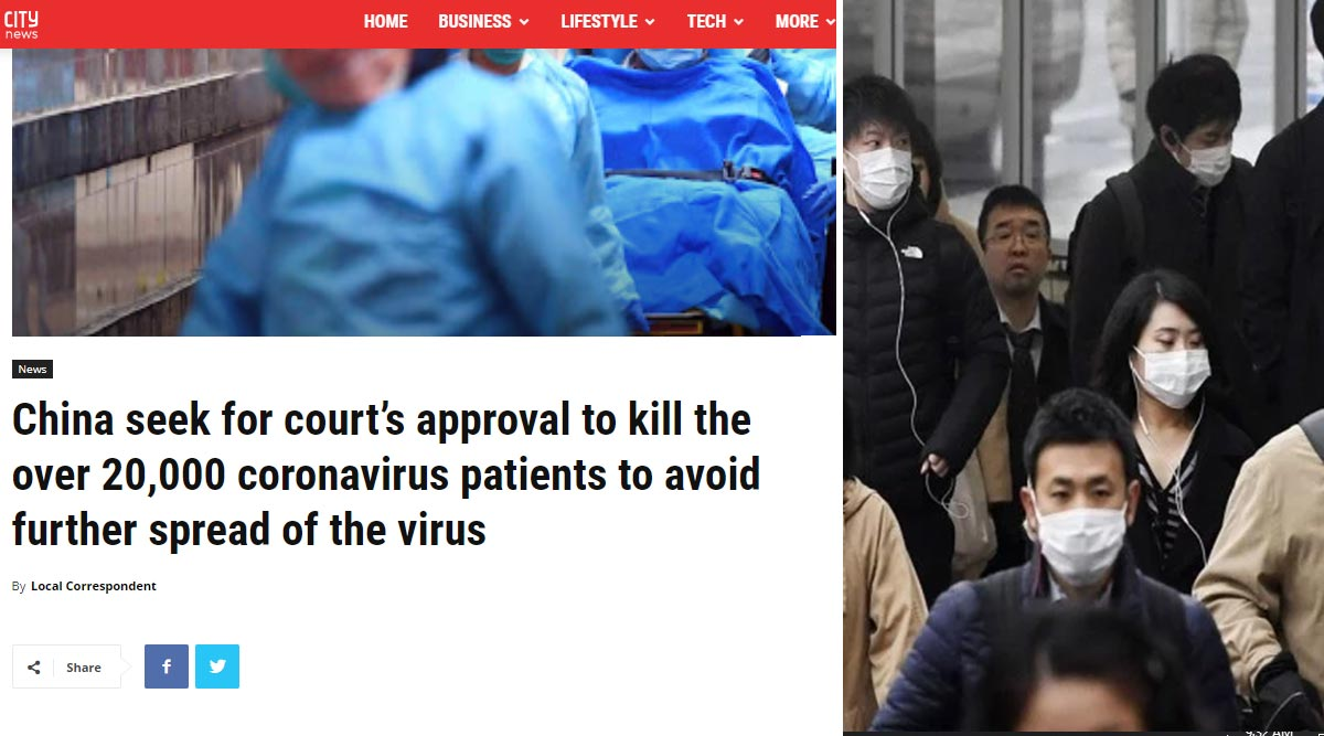 Coronavirus: China Seeking Court Approval to Kill 20,000 2019-nCoV-Infected Patients to Prevent Further Spread? Know Truth Behind Viral News