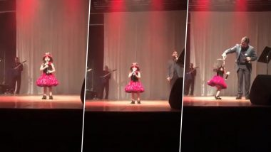 3-Year-Old Adorably Sings 'Dil Hai Chota Sa' With Father And Dances on Stage; Garners Praises on Social Media