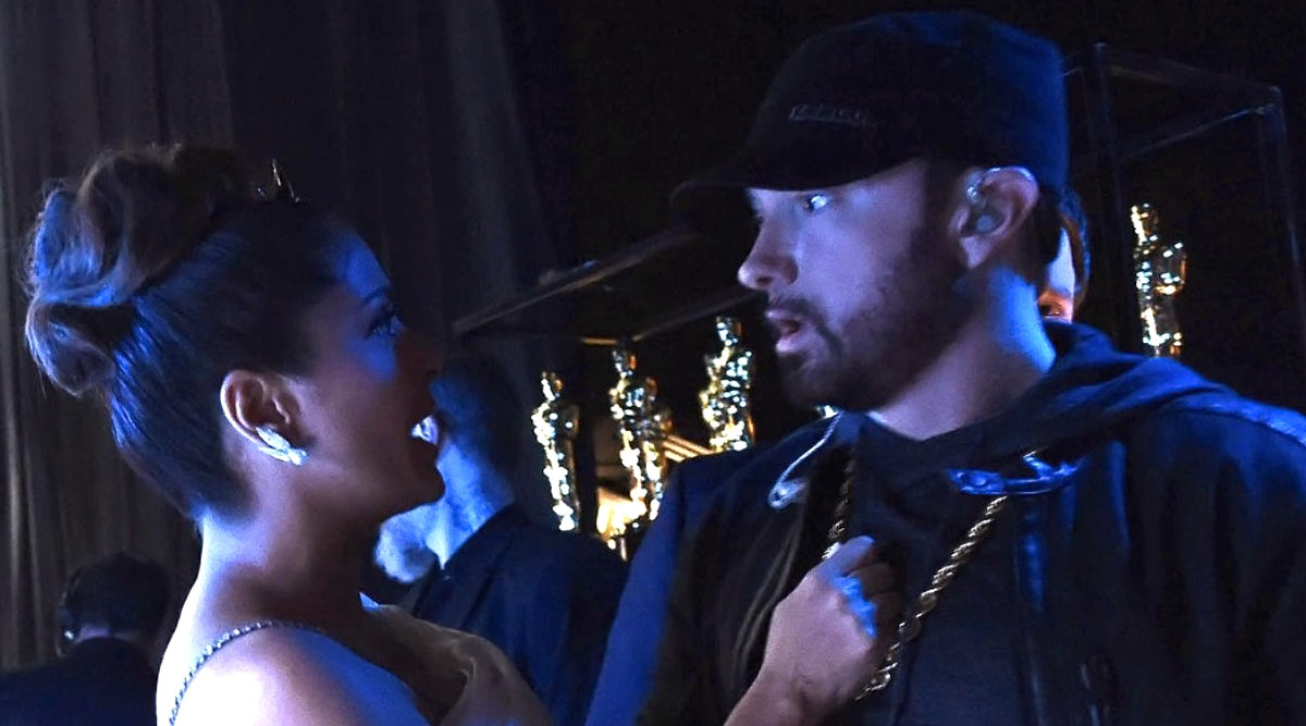 Salma Hayek Reveals Her Backstage Encounter with Eminem at Oscars 2020, Says 'I Was So Shocked to See Him That I Spilled Water All Over Him'