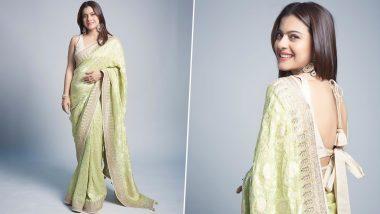 Kajol Is an Epitome of Understated Elegance in a Lime Green Benarasi Saree by Anita Dongre!