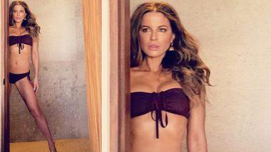 Kate Beckinsale Flaunts Her Toned Figure in a Deep Purple Lingerie!