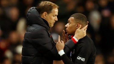 Kylian Mbappe Involved in Heated Exchange With Coach Thomas Tuchel During PSG's 5–0 Ligue 1 Win Over Montpellier (Watch Video)