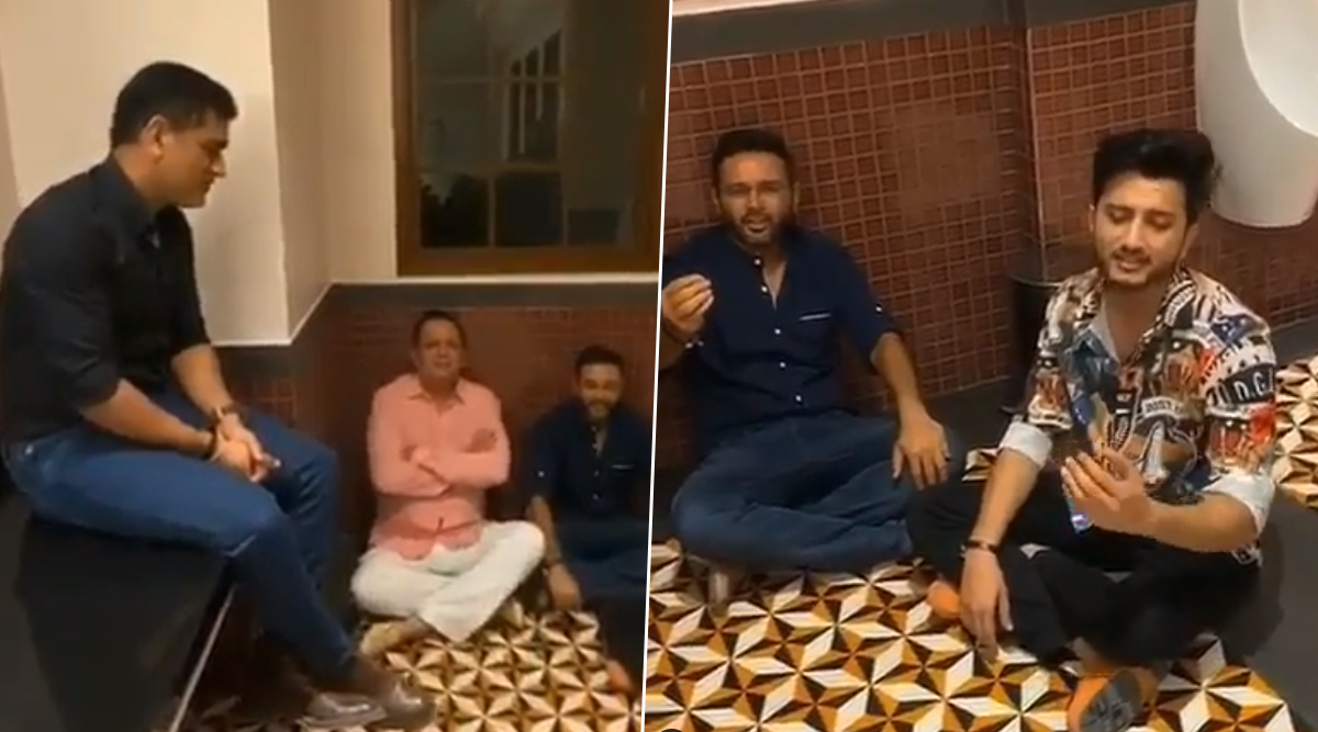 MS Dhoni Enjoys 'Bathroom' Singing Session With CSK Teammate Piyush Chawla, RCB's Parthiv Patel and Singer Ishaan Khan (Watch Video)