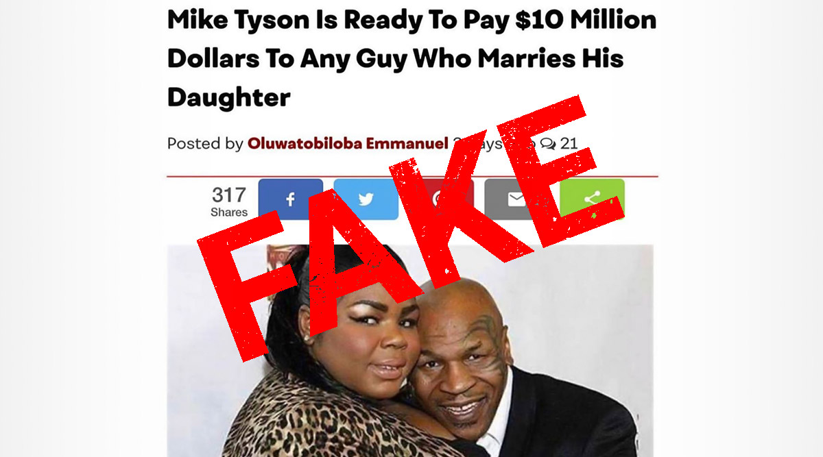 Mike Tyson Did Not Offer $10 Million to Man Who Will Marry His Daughter; Here's The Truth as Fake News Goes Viral