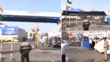 Donald Trump India Visit: Temporary Welcome Gate At Motera Stadium Collapses Ahead Of February 24 Mega Event, Watch Video