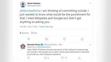 Mumbai Man With Suicidal Thoughts Asks to Know Punishment For Committing Suicide, Police Intervene And Save Him From Taking Extreme Step