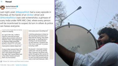 Mumbai: Uber Cab Driver Takes Poet Bappaditya Sarkar to Santacruz Police Station After Listening His Conversation About 'Anti-CAA Protests'