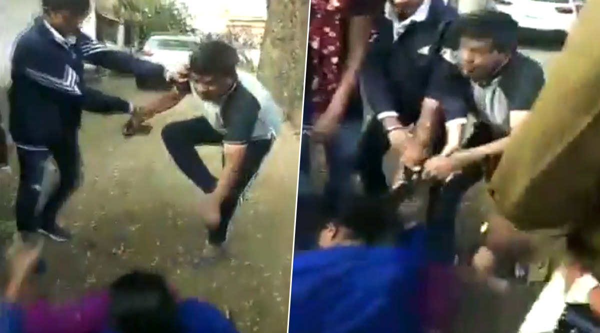 Madhya Pradesh: Gandhwani Police Station Incharge Beats Up Wife After After She Catches Him Having an Illicit Affair; Watch Video