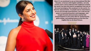 Oscars 2020: Priyanka Chopra Jonas Gets Emotional As Parasite, the First Non-English Film Makes Oscar History by Winning the Best Picture Award