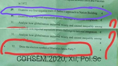 Manipur Board COHSEM 2020 Class 12th Political Science Paper Quizzes Students on 'Negative Traits of Nehru', 'Election Symbol of BJP', Claim Twitter Users