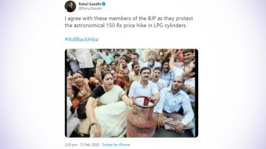 LPG Price Hike: Rahul Gandhi Takes Swipe at Smriti Irani, Reminds BJP of Its Own Protest With a Throwback Picture