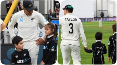 Ross Taylor Accompanied By his Kids as he Becomes First Player to Play 100 Matches in All Three Formats Ahead of IND VS NZ 1st Test 2020 (Watch Video)