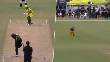 Sachin Tendulkar Comes Out to Face Ellyse Perry and Annabel Sutherland During the Innings Break of Bushfire Cricket Bash (Watch Video)