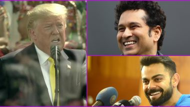 Namaste Trump: India Cheer on Great Cricketers Like Sachin Tendulkar, Virat Kohli; Says US President Donald Trump