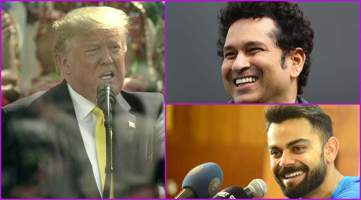Namaste Trump: India Cheer on Great Cricketers Like Sachin Tendulkar, Virat Kohli; Says US President Donald Trump