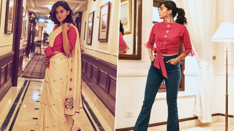 Taapsee Pannu Goes Sublime Chic As She Adds a Twist to the Traditional Six-Yard for Thappad Promotions!