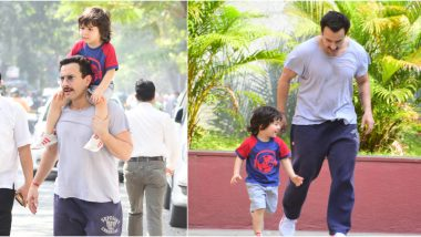 Saif Ali Khan's Sunday Outing With Son Taimur Ali Khan Captured in These Cute Pictures is Too Adorable to Miss!